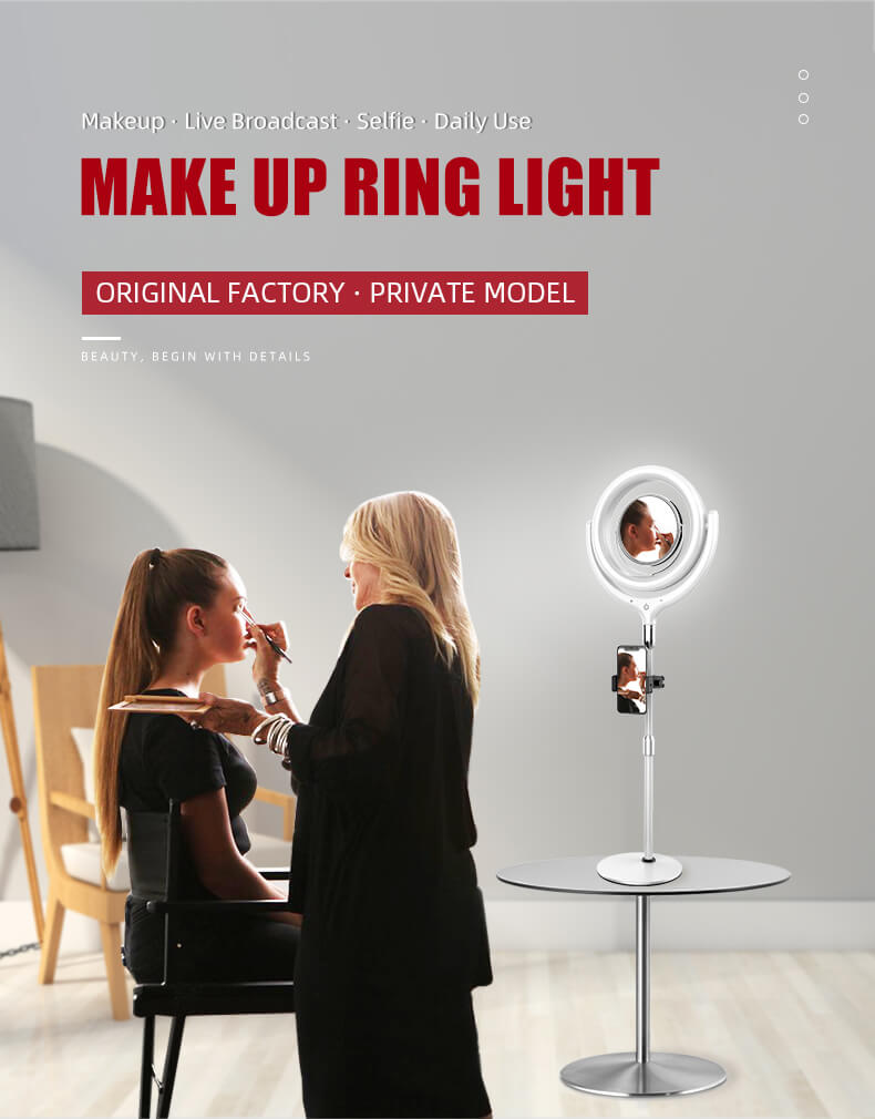 LED ring light with mirror